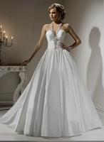 Free Shipping Custom Made Taffeta Ball Gown Halter Pleat Beaded Bridal Gown Wedding Dresses Zipper Chapel Train Floor Length