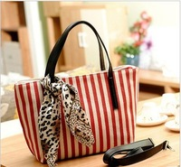 2013 stripe silk scarf navy canvas bag handbag shoulder bag vintage bag casual all-match female bags 323