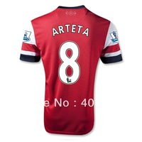 free shipping 13/14 arsenal ARTETA home soccer jerseys,Thailand quality soccer uniforms football shirts