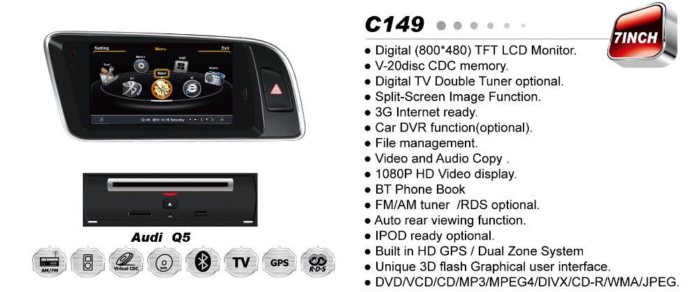 A8 Chipset 3G WiFi HD 1080P Car DVD Headunit Player for AUDI A4 A5 Q5 With GPS Navi Radio Bluetooth TV DVR Optional(China (Mainland))