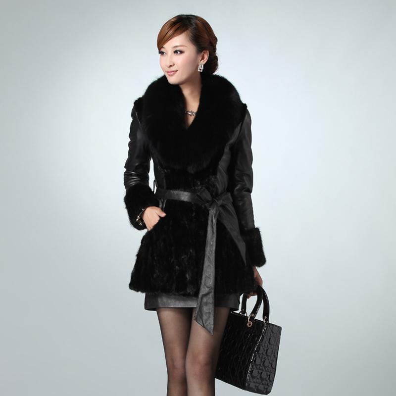 Women's 2013 fur coat mink fur overcoat medium-long fox fur mink(China (Mainland))