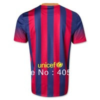 Free shipping 13/14 barca home soccer jerseys,Thailand quality soccer uniforms football shirts no name no number