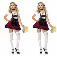 2013 hot sexy waitress uniform Beer Girl Costumes German Beer Festival Promotion Service coffee hall maid coffee uniforms