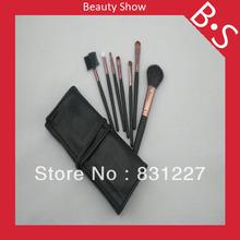 Free Shipping 7pcs Mini Travel Makeup Brush Set Mini Travel Cosmetic Makeup Brush Set Excellent Leather