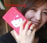 For Iphone 5 Case!3D Bowknot hello Kitty Wallet Leather Case Soft Cover For iphone 5 5G, Free shipping 1-10pcs