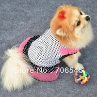 Beautiful Polka Dot pink princess dress veil white with black dots Dog Skirt Dog Pet Clothes