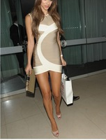 Free Shipping Lace White Grey Sleeveless Women Party Bandage Dress