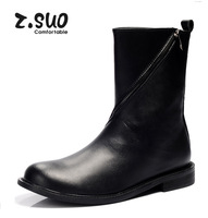 Free shipping brand z.suo Men's genuine boots fashion mid-calf boots high top british shoe quality genuine boots zip Black 39-44