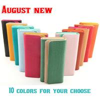 2014 new fashion pu leather material Crocodile line grain 10colors women purse lady long clips  bag  brand wallet hot sale