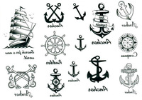 Sunny sailboat rudder plate anchor compass tattoo stickers tattoo stickers k023