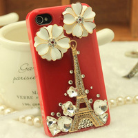 Lovely Paris Handmade Effiel Tower Flower 3D Luxury Bling Rhinestone Diamond Case for Iphone 5 iphone5S 5G Mobile phone Cover