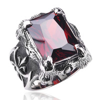 Free shipping Ring fashion jewelry nanjie male vintage ruby accessories Titanium silver ring