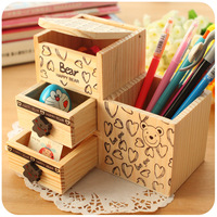 love bear wool multifunctional pen holder with drawer fashion