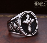 HongKong post  Free shipping  titanium vintage male ring fashion personality cross fashion finger ring