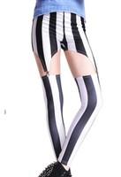 Fitless Legging Vertical Stripe Suspenders Fashion Dolls Kill Leggings Women's Stretch Material Holes Trousers KD-363