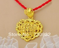 9k 14k 18k yellow gold pendants golden hollow heart style fashion suits for all  chain necklace