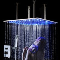 Luxury large square led overhead shower set with 20 inch stainless steel shower head