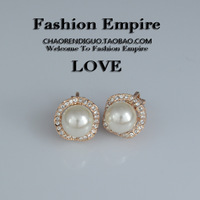 Pearl clip on earrings Elegant intellectuality simulated-pearl crystal no pierced earrings white collar elegant female
