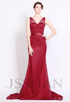 12P089  Sexy Wide Straps Ruched Tulle Slim Mermaid Gorgeous Luxury Unique Brilliant Prom Evening Dress Fancy Dress Party