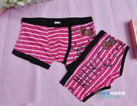 Free Shipping 2013 New Arrival Modal Couple Underwear Lingerie Sexy Striped Cute Men Women Boxers