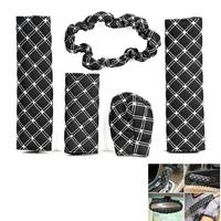5pcs/set Handbrake Grips Shift Car Seat Belts Padding Rearview Mirror PU Cover Set Black + White Cover Case Free shipping