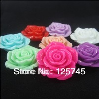 Free shipping!Large Rose 42mm Resin Flower With Hole For Chunky Necklace 50Pcs/Lot.