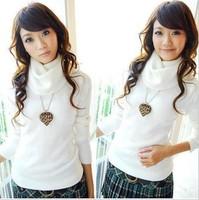 Free shipping 2014 women long-sleeved turn-down Collar fashion sweater women primer shirt lady turtleneck warm pullovers