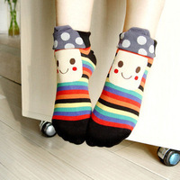 Mushroom head dot smiley cartoon socks 100% cotton two ways female sock 100% cotton socks roll up hem socks