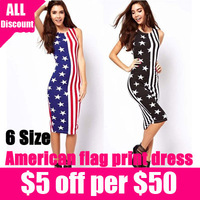 Free shipping 2013 New womens American flag stars and stripes print midi sleeveless one piece dress slim vest dress 1pcs/lot