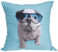 Vintage Fashion Blue Bull Dog Glasses Pop Art Pillow Case Decorative Cushion Cover Sham