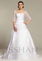 12W021 Square Collar Laced Ruched Trained Gorgeous Luxury Unique Brilliant Matte Satin Bridal Wedding Dress Free Shipping