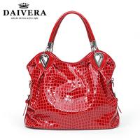 Red Genuine Leather Croc Handbag for Women Fashion Shoulder Bags Free Shipping 0720
