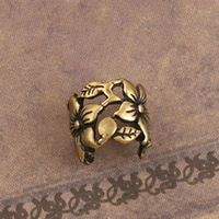 Free Shipping On US$ 15 Order, Gothic Jewelry Punk Fashion Floral Ear Cuff  Warp Clip Earrings Bronze