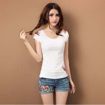 imixbox Tibetan Ladies' T-shirt Cotton embroidery Free Shipping W4147