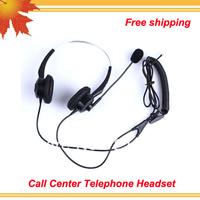 Hot sell Free shipping new arrival Binaural call center headset telephone headset phone earphones