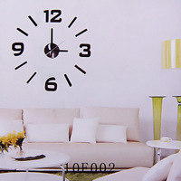 Room Decoration Clock Adhesive DIY Numbers Wall Clock - Black
