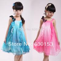 dress girl princess blue  female child prince children chiffon one-piece  summer kid's children's clothing