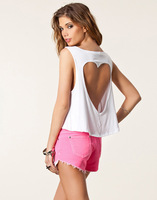 2013 Free shipping backless hollow out heart shape t shirt summer sexy short vest casual midriff-baring tops S001