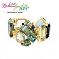 2013 New Designer Grand Stone Chunky Statement Flower Bracelet Jewelry For Women Free Shipping