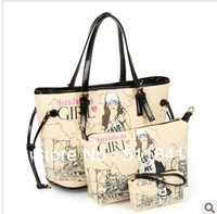 New 2013 Women with three packages Picture-bag shoulder bag diagonal package