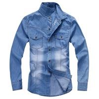 2014 men's autumn shirt; Men's long-sleeved denim shirt; Men's Slim casual long-sleeved shirt.