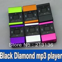 100pcs Black Diamond Mini Clip metal Clip MP3 player with TF Slot 6 colors in stock free shipping orange