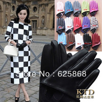 Женские перчатки из кожи 2013 Spring Fall Winter women's fashion small bow long gloves, female long design faux sheepskin leather gloves