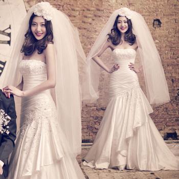 Принцесса белое свадебное платье с низким уровнем высокой поезд невесты 2013 свадебное вечернее платье