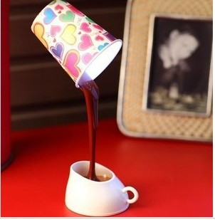 Gift usb battery dual led coffee small table lamp personalized diy lamp cover