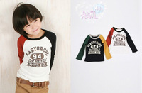Free Shipping 2013 spring and fall fashion Han style 100% cotton boys and girls patch color long sleeve  T-shirt