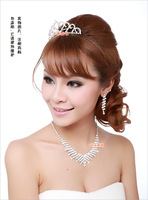 Hot Sale Crystal Bridal Jewelry Set,Adjustable Necklace&Earrings&Crown 3Pieces Set  Wedding Jewelry Set For Bridal