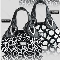2013 PU fashion color block decoration handbag bag candy color rose leopard print black and white mother bag