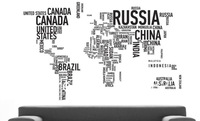 Black Large World Map in Words Removable Vinyl Wall Sticker Decal Mural Art Home Decor