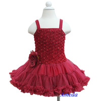 Romantic Ruby Red Rosettes Petti Dress / Outfit / Dance Tutu / Flower Girl / Party Dress 1-7Y